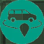 On-Demand-Logo, ein weißes Auto in einem grünen Kreis